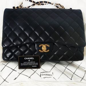 Chanel Double Flap Maxi Black Gold Hardware